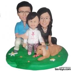 personalisierte Familien Figur mit Hund