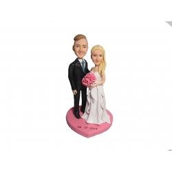 Personalisierte Hochzeitstortenfiguren für Liebespaar Hochzeitstorte mit pink Herz