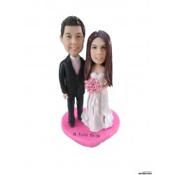 Personalisierte Hochzeitstortenfiguren Liebespaar Hochzeitstorte mit Pink Herz