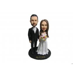 Personalisierte Hochzeitstortenfiguren Liebespaar mit Blumenstrauss