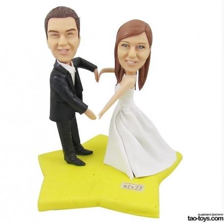 Personalisierte Hochzeitstortenfiguren für Liebespaar Hochzeitstorte mit Star